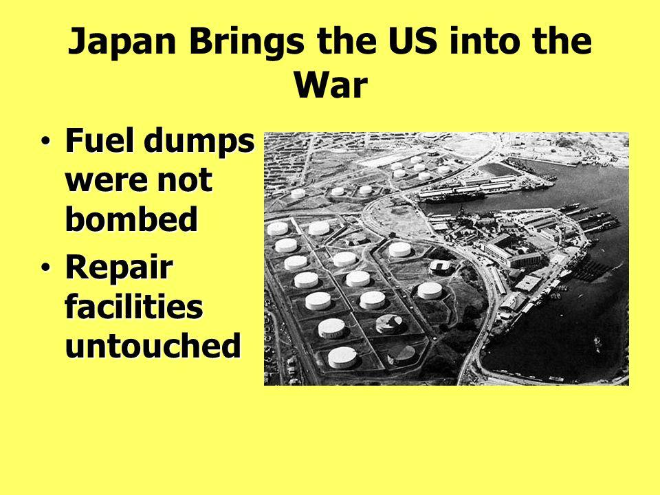 Fuel dumps were not bombed Fuel dumps were not bombed Repair facilities untouched Repair facilities untouched