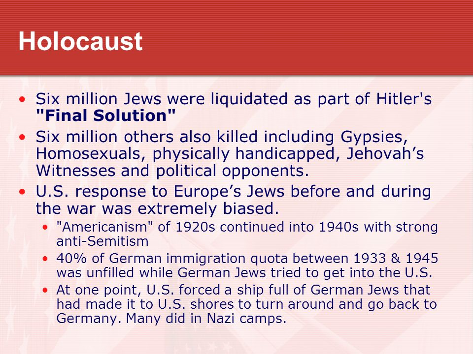 Holocaust Six million Jews were liquidated as part of Hitler's