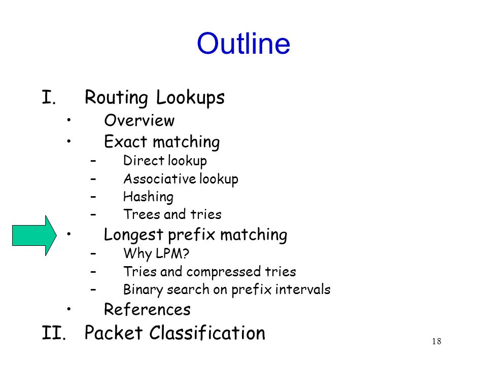 18 Outline I.Routing Lookups Overview Exact matching –Direct lookup –Associative lookup –Hashing –Trees and tries Longest prefix matching –Why LPM.