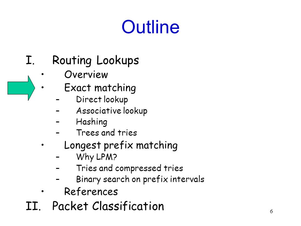 6 Outline I.Routing Lookups Overview Exact matching –Direct lookup –Associative lookup –Hashing –Trees and tries Longest prefix matching –Why LPM.