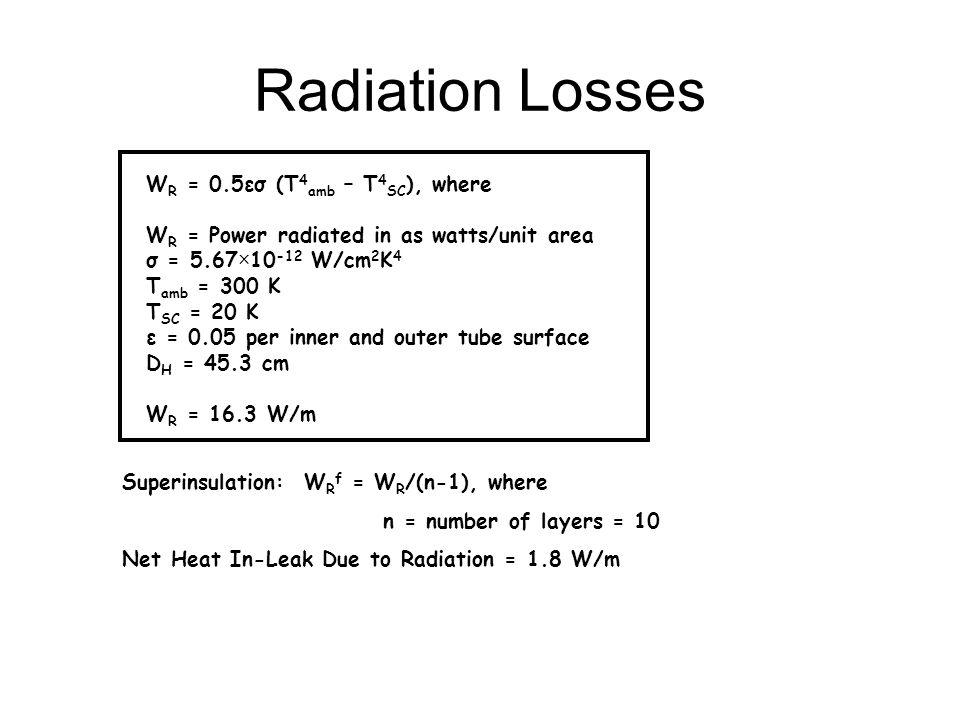 Radiation Losses W R = 0.5εσ (T 4 amb – T 4 SC ), where W R = Power radiated in as watts/unit area σ = 5.67×10 -12 W/cm 2 K 4 T amb = 300 K T SC = 20