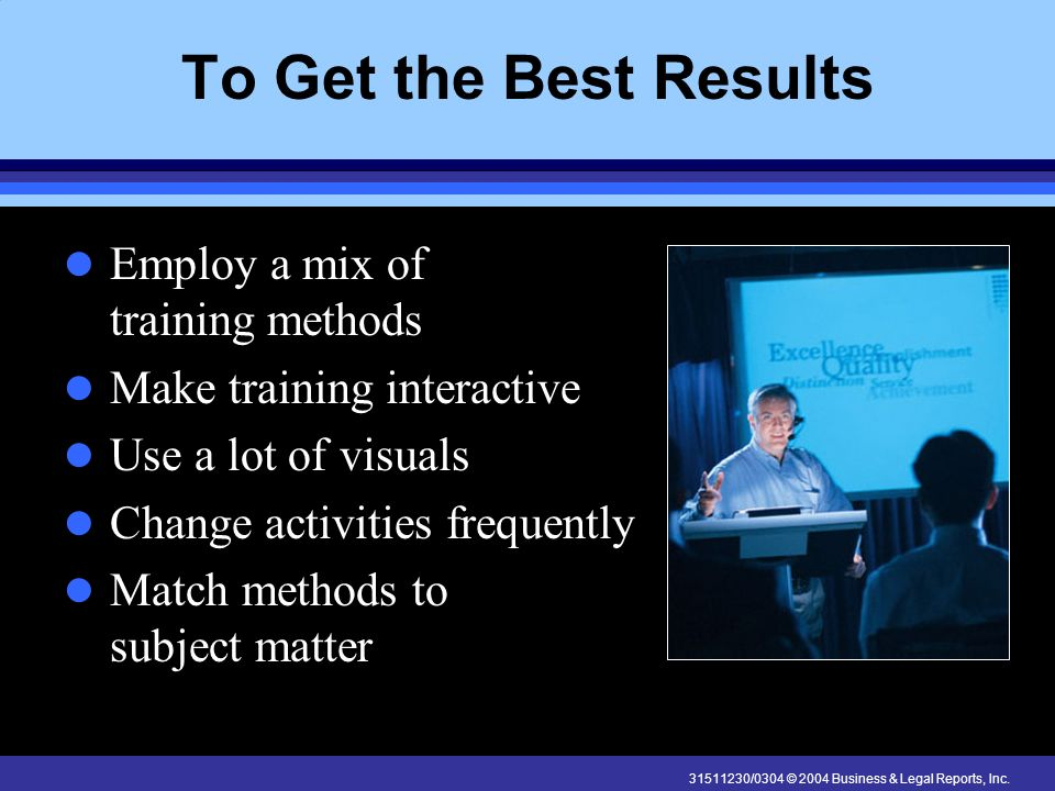 31511230/0304 © 2004 Business & Legal Reports, Inc. To Get the Best Results Employ a mix of training methods Make training interactive Use a lot of vi