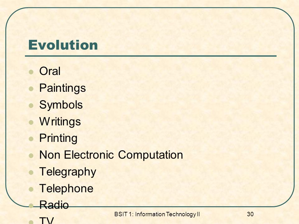 BSIT 1: Information Technology II 30 Evolution Oral Paintings Symbols Writings Printing Non Electronic Computation Telegraphy Telephone Radio TV