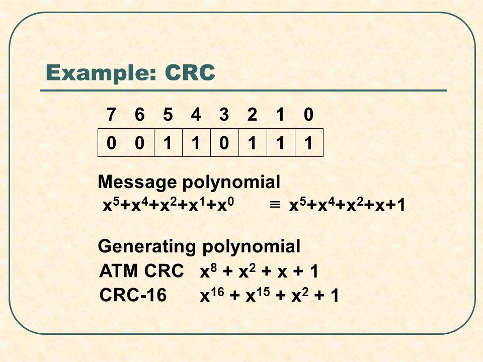 Example: CRC 00110111 01234567 Message polynomial x 5 +x 4 +x 2 +x 1 +x 0 x 5 +x 4 +x 2 +x+1 Generating polynomial ATM CRC x 8 + x 2 + x + 1 CRC-16 x