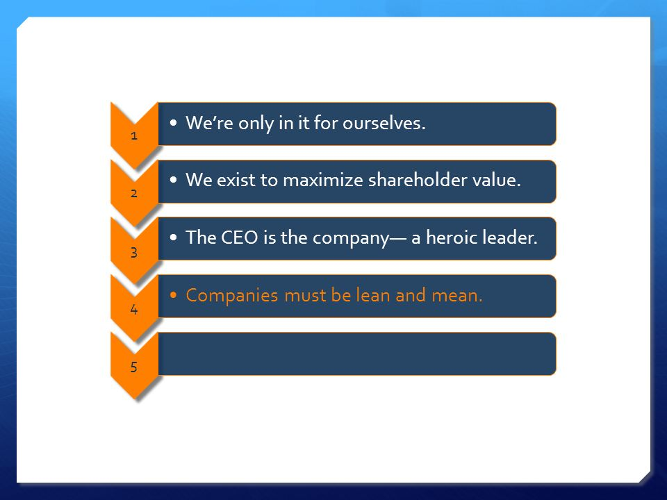 1 Were only in it for ourselves. 2 We exist to maximize shareholder value.