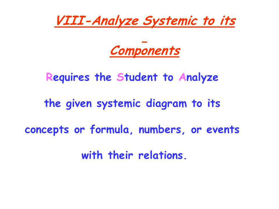 VIII-Analyze Systemic to its Components Requires the Student to Analyze the given systemic diagram to its concepts or formula, numbers, or events with their relations.