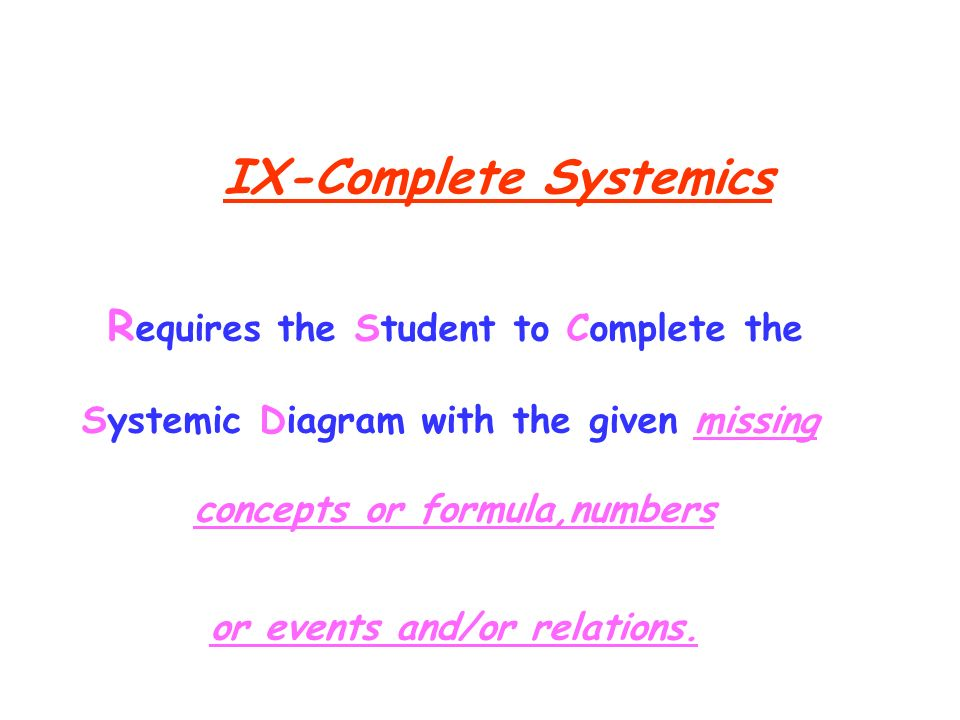 IX-Complete Systemics R equires the Student to Complete the Systemic Diagram with the given missing concepts or formula,numbers or events and/or relat