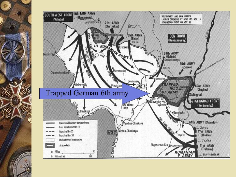 2. Battle of Stalingrad - prolonged German offensive Russians hold city against unbelievable odds Russian counteroffensive encircles entire German 6th