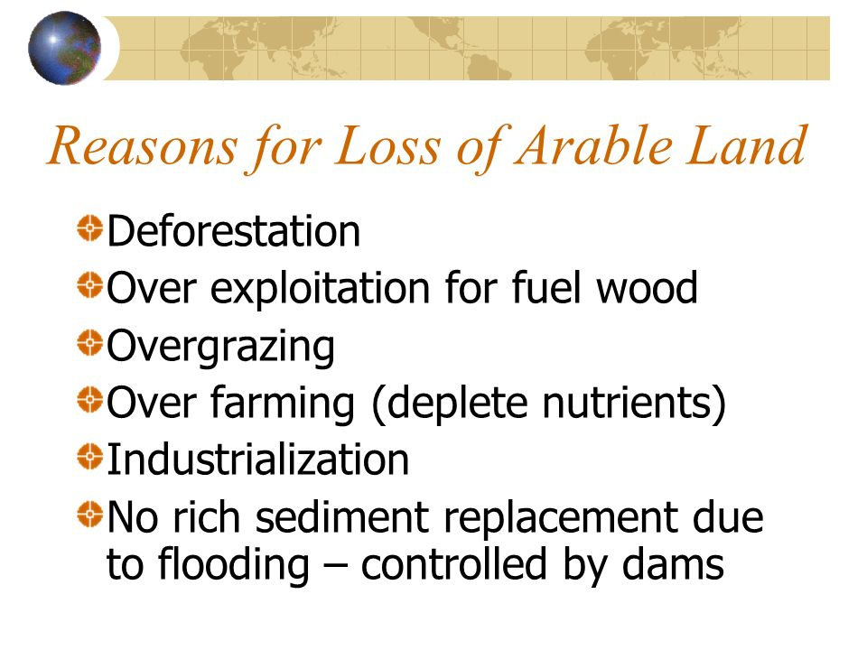 Reasons for Loss of Arable Land Deforestation Over exploitation for fuel wood Overgrazing Over farming (deplete nutrients) Industrialization No rich s