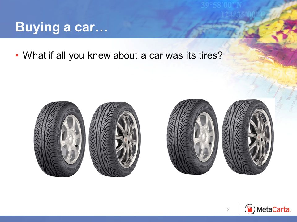 2 Buying a car… What if all you knew about a car was its tires