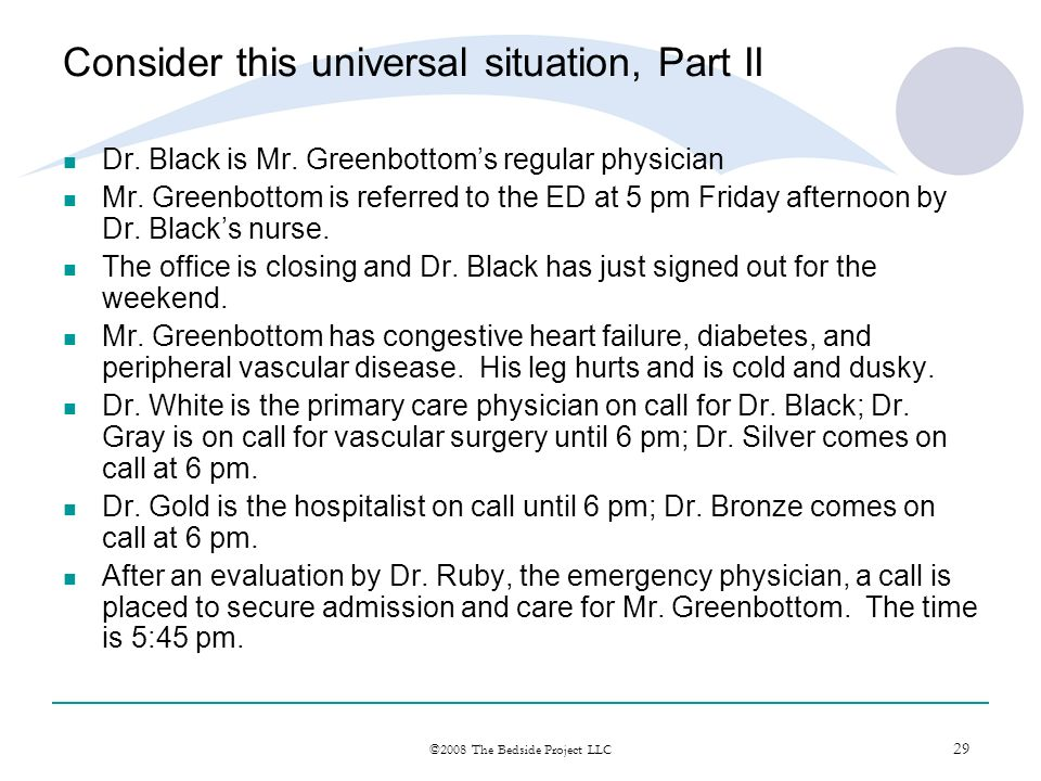 29 ©2008 The Bedside Project LLC Consider this universal situation, Part II Dr. Black is Mr. Greenbottoms regular physician Mr. Greenbottom is referre