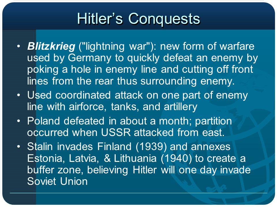 Hitlers Conquests Blitzkrieg (