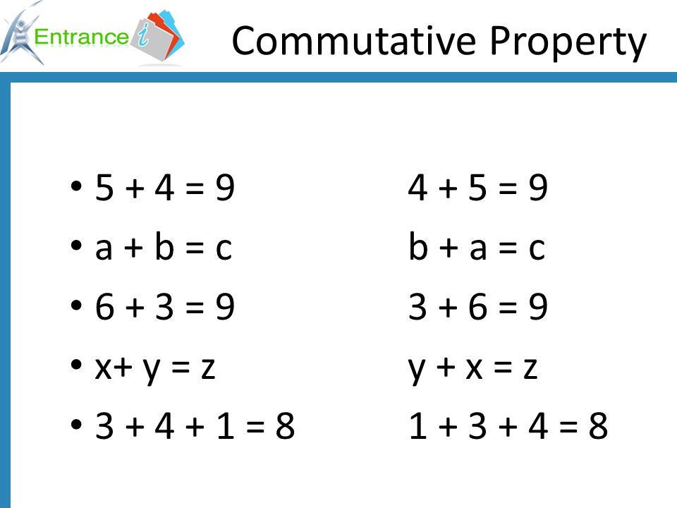 Solve these equations using the commutative property n + 7 = 7 + 4 m + 2 = 2 + 5 z + 3 = 3 + 9 g + 6 = 6 + 11 s + 4 = 4 + 20 c + 8 = 8 + 32 n = 4 m = 5 z = 9 g = 11 s = 20 c = 32
