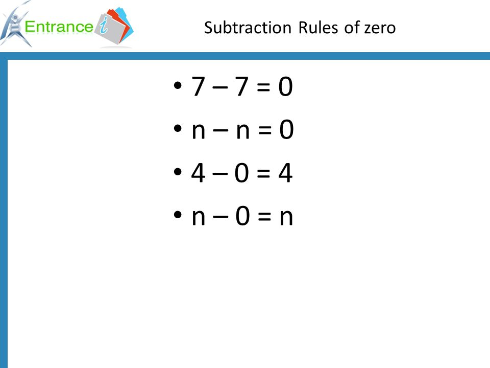 Find the value of n using the rules of subtraction n - 8 = 0 n – 9 = 0 n – 0 = 7 n – 0 = 9 n – 7 = 0 n – 0 = 5 n = 8 n = 9 n = 7 n = 9 n = 7 n = 5