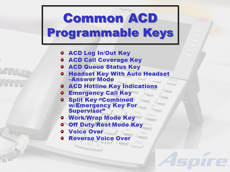 ACD Log In/Out Key ACD Call Coverage Key ACD Queue Status Key Headset Key With Auto Headset –Answer Mode ACD Hotline Key Indications Emergency Call Key Split Key Combined w/Emergency Key For Supervisor Work/Wrap Mode Key Off Duty/Rest Mode Key Voice Over Reverse Voice Over Common ACD Programmable Keys