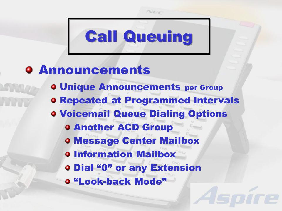 Call Queuing Unique Announcements per Group Repeated at Programmed Intervals Voicemail Queue Dialing Options Another ACD Group Message Center Mailbox Information Mailbox Dial 0 or any Extension Look-back Mode Announcements