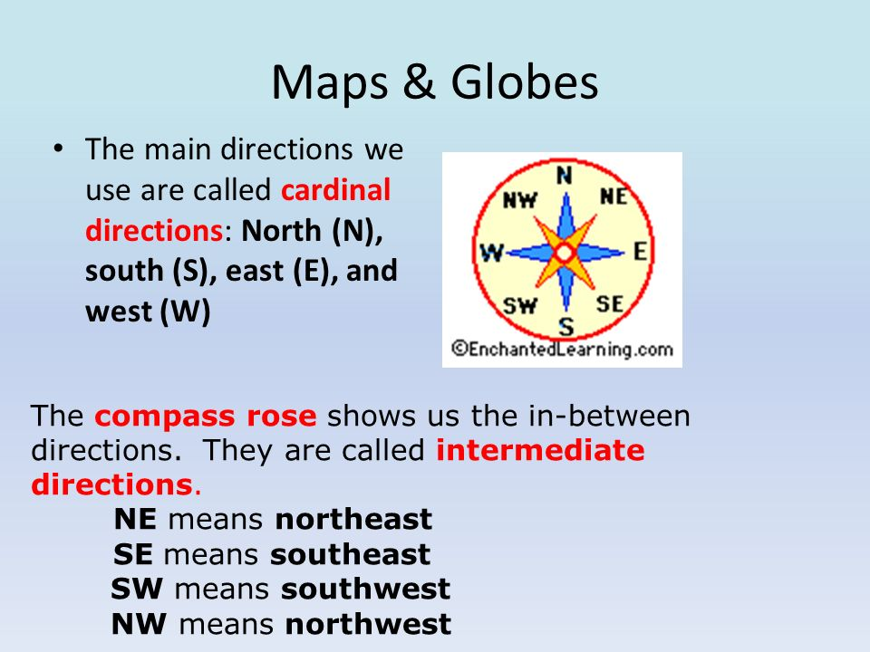 Maps & Globes The main directions we use are called cardinal directions: North (N), south (S), east (E), and west (W) The compass rose shows us the in