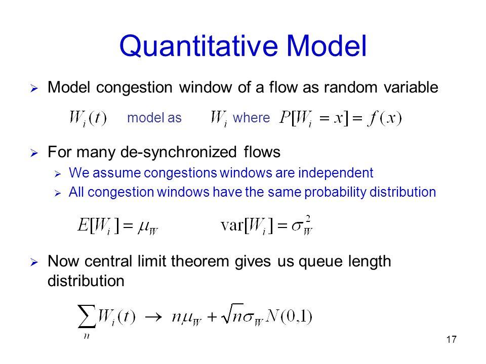 17 Quantitative Model Model congestion window of a flow as random variable model aswhere For many de-synchronized flows We assume congestions windows