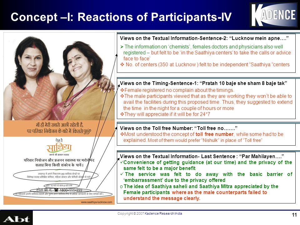 Copyright © 2007 Kadence Research India 11 Concept –I: Reactions of Participants-IV Views on the Timing-Sentence-1: Pratah 10 baje she sham 8 baje tak