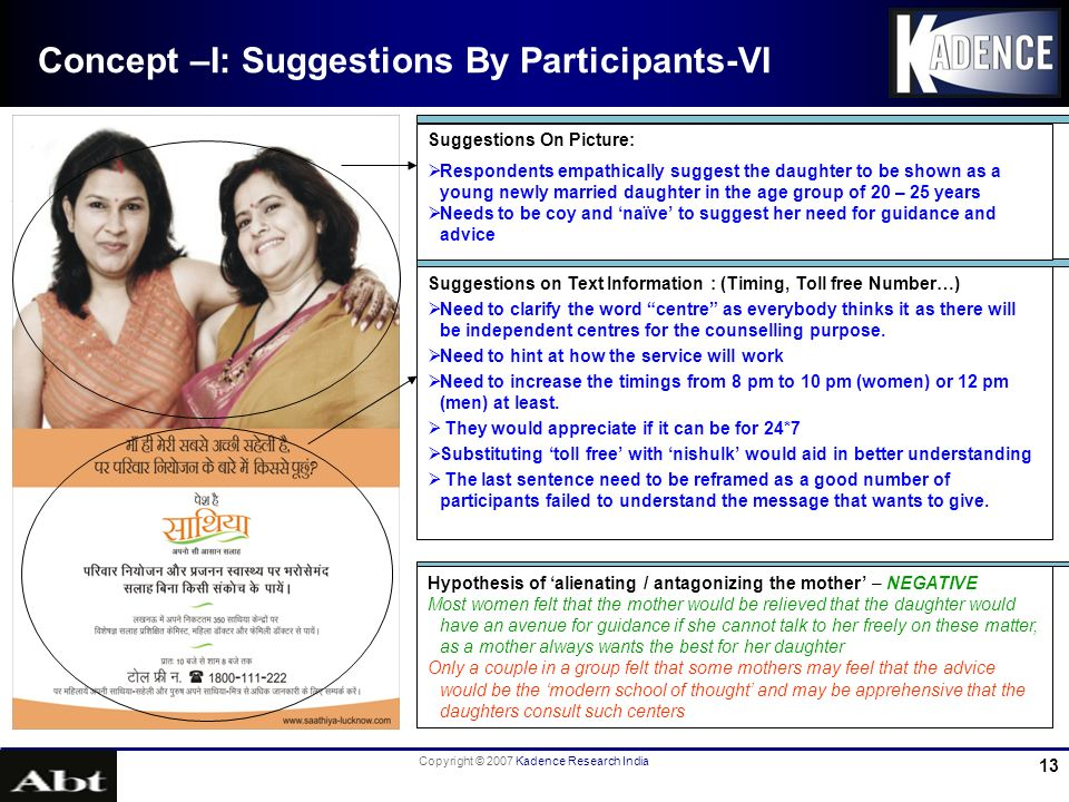 Copyright © 2007 Kadence Research India 13 Concept –I: Suggestions By Participants-VI Suggestions on Text Information : (Timing, Toll free Number…) Need to clarify the word centre as everybody thinks it as there will be independent centres for the counselling purpose.