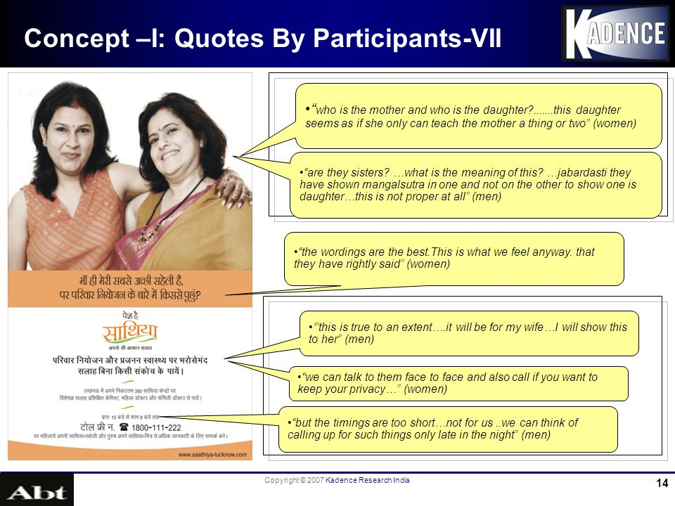 Copyright © 2007 Kadence Research India 14 Concept –I: Quotes By Participants-VII who is the mother and who is the daughter .......this daughter seems as if she only can teach the mother a thing or two (women) are they sisters.