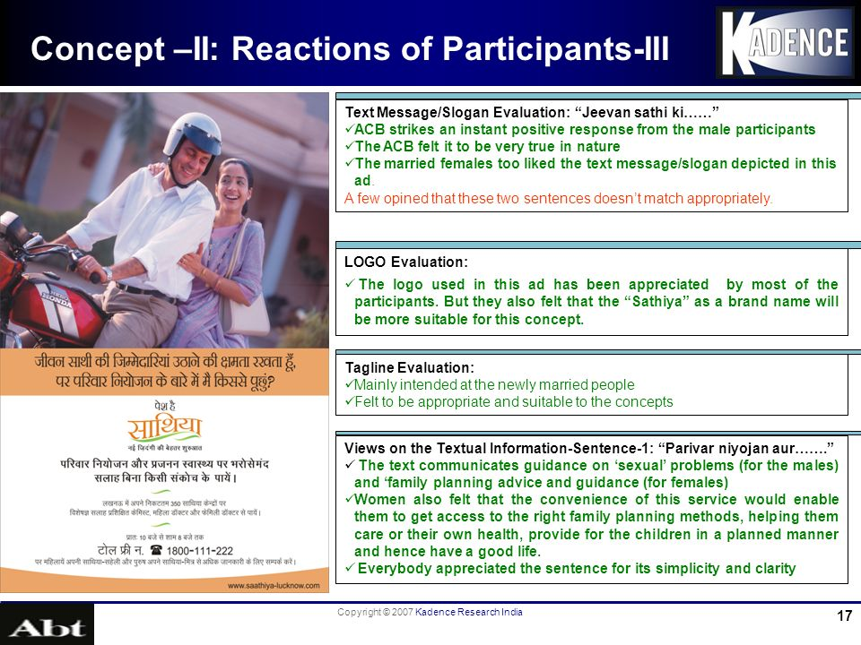Copyright © 2007 Kadence Research India 17 Concept –II: Reactions of Participants-III LOGO Evaluation: The logo used in this ad has been appreciated b