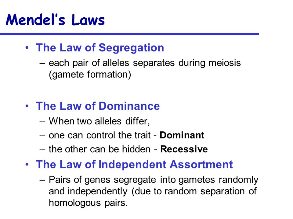 Mendels Laws The Law of Segregation –each pair of alleles separates during meiosis (gamete formation) The Law of Dominance –When two alleles differ, –