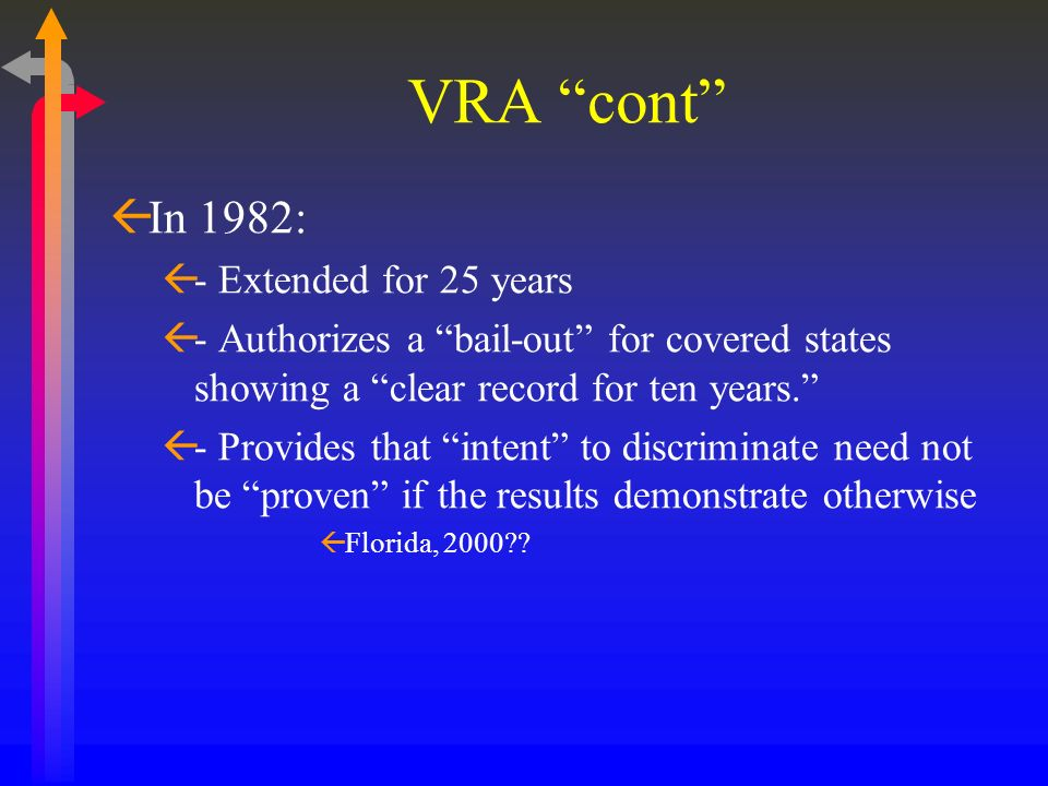 VRA cont ßIn 1982: ß- Extended for 25 years ß- Authorizes a bail-out for covered states showing a clear record for ten years. ß- Provides that intent