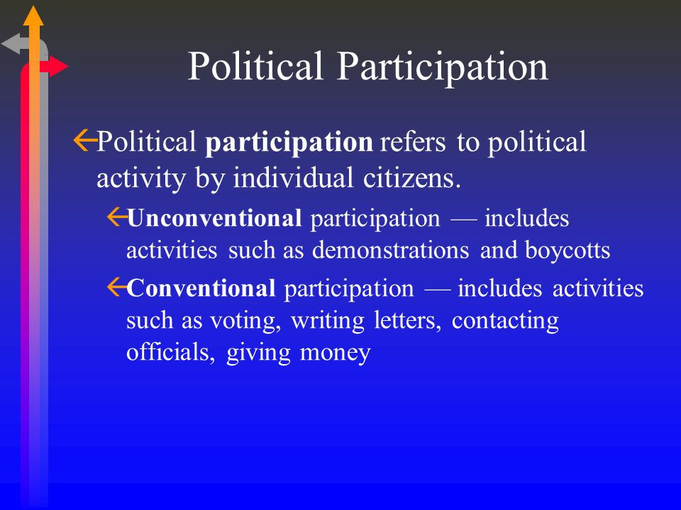 Political Participation Political participation refers to political activity by individual citizens. Unconventional participation includes activities