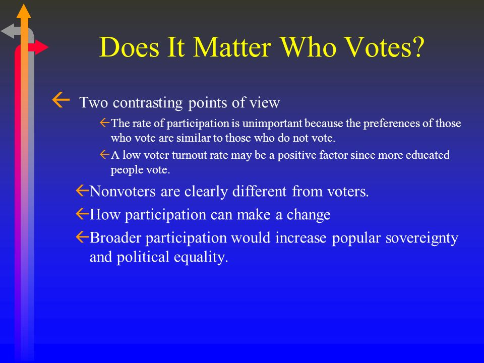 Does It Matter Who Votes? Two contrasting points of view The rate of participation is unimportant because the preferences of those who vote are simila