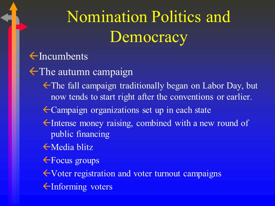 Nomination Politics and Democracy Incumbents The autumn campaign The fall campaign traditionally began on Labor Day, but now tends to start right afte