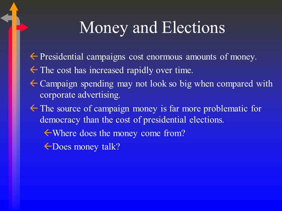 Money and Elections Presidential campaigns cost enormous amounts of money. The cost has increased rapidly over time. Campaign spending may not look so