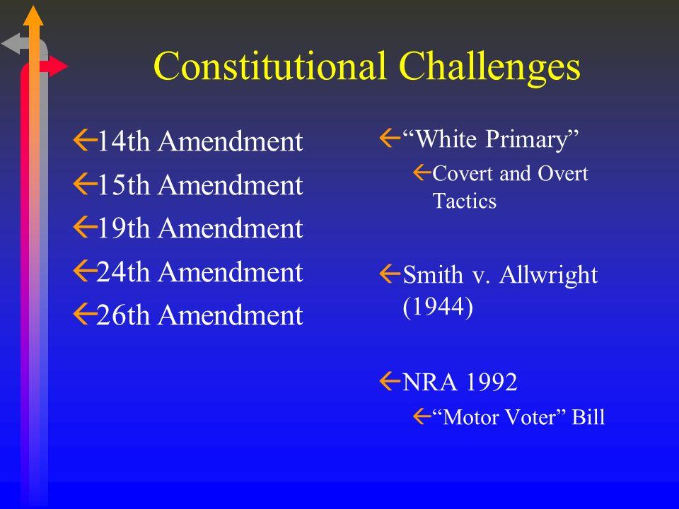 Constitutional Challenges ß14th Amendment ß15th Amendment ß19th Amendment ß24th Amendment ß26th Amendment ßWhite Primary ßCovert and Overt Tactics ßSm
