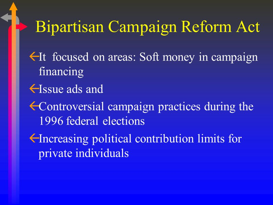 ßIt focused on areas: Soft money in campaign financing ßIssue ads and ßControversial campaign practices during the 1996 federal elections ßIncreasing
