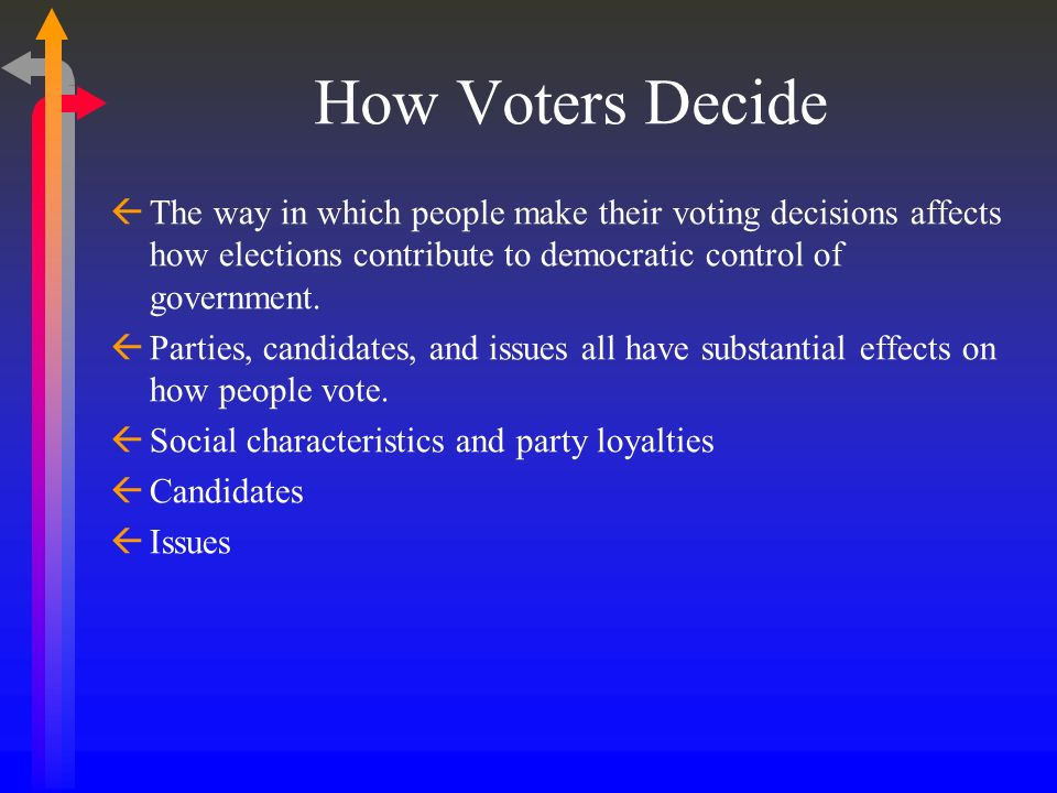 How Voters Decide The way in which people make their voting decisions affects how elections contribute to democratic control of government. Parties, c