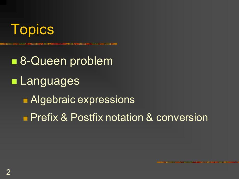 2 Topics 8-Queen problem Languages Algebraic expressions Prefix & Postfix notation & conversion