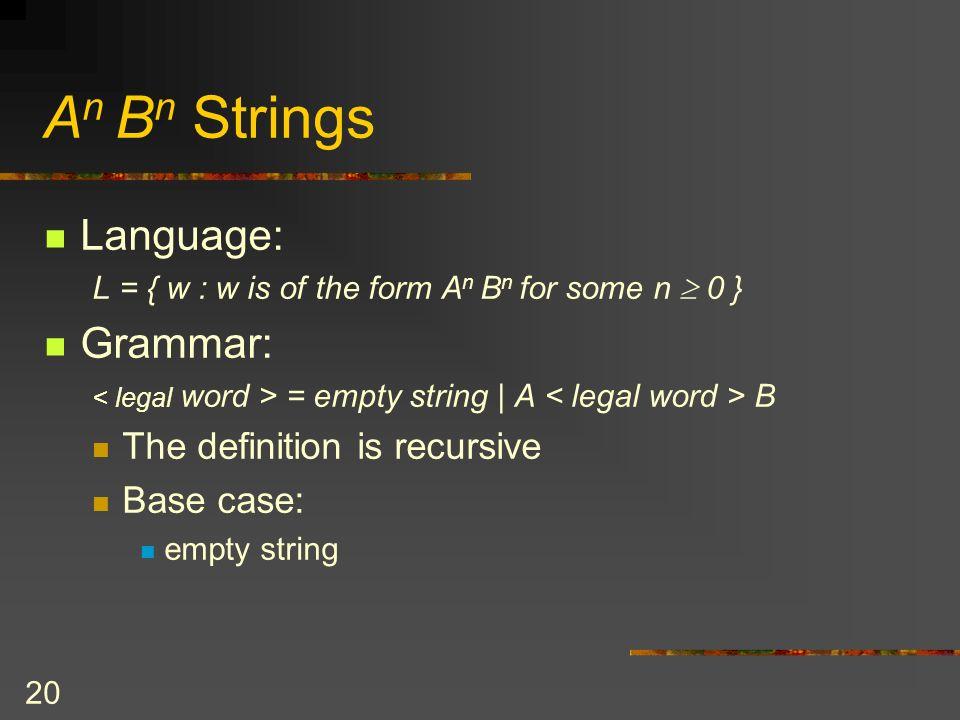 20 A n B n Strings Language: L = { w : w is of the form A n B n for some n 0 } Grammar: = empty string | A B The definition is recursive Base case: em