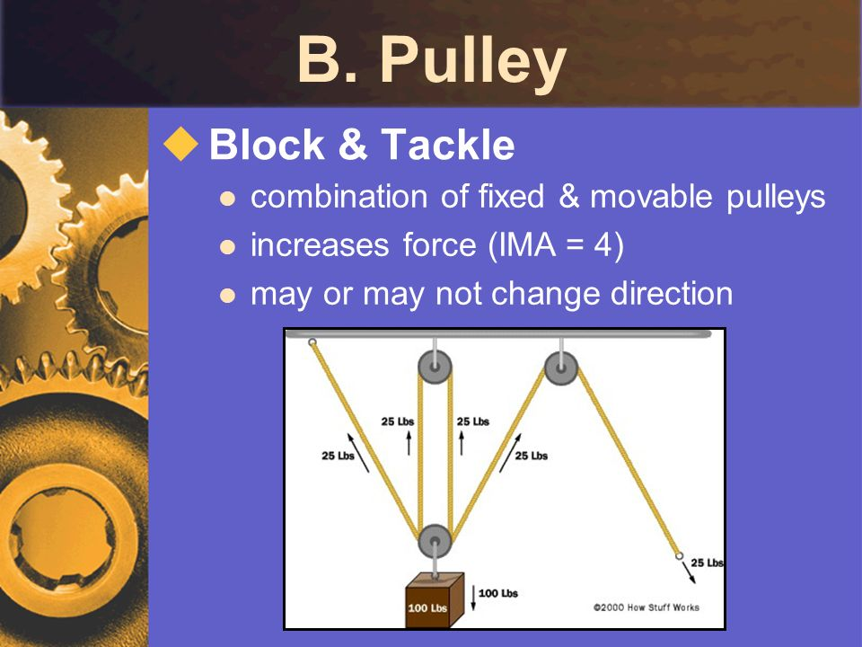 B. Pulley Block & Tackle combination of fixed & movable pulleys increases force (IMA = 4) may or may not change direction