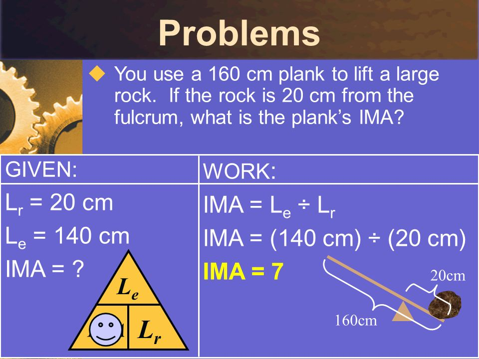 Problems You use a 160 cm plank to lift a large rock. If the rock is 20 cm from the fulcrum, what is the planks IMA? GIVEN: L r = 20 cm L e = 140 cm I