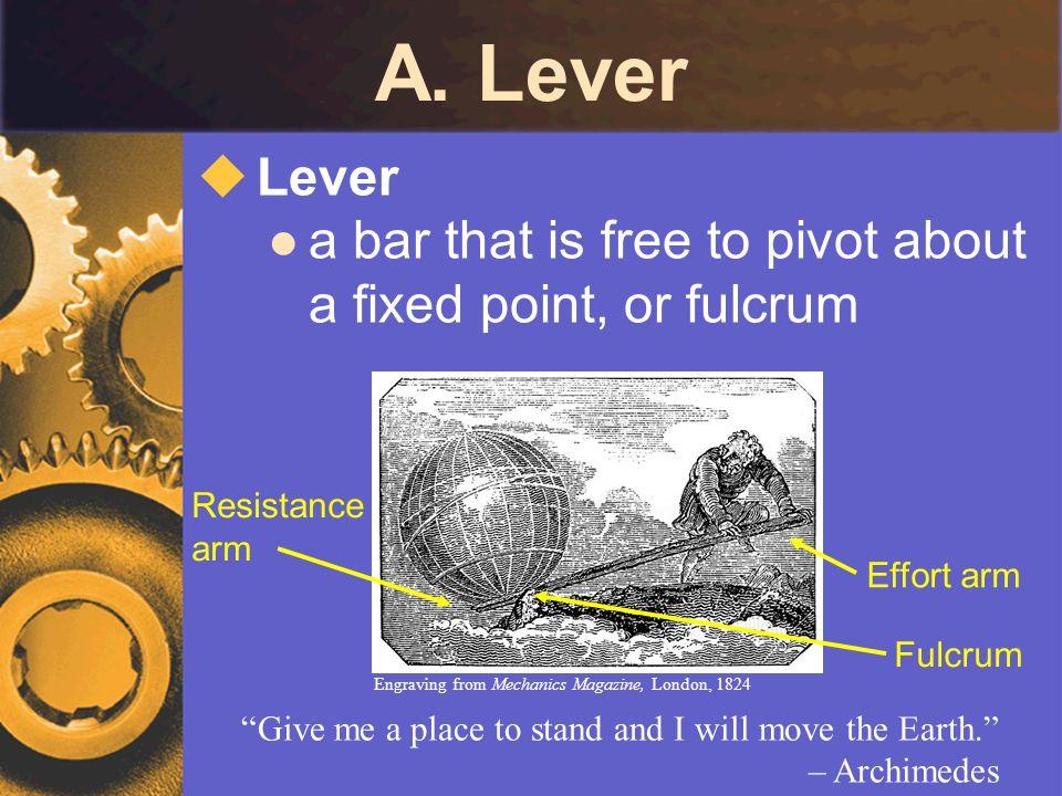 C.Wheel and Axle Ideal Mechanical Advantage (IMA) effort force is usu.