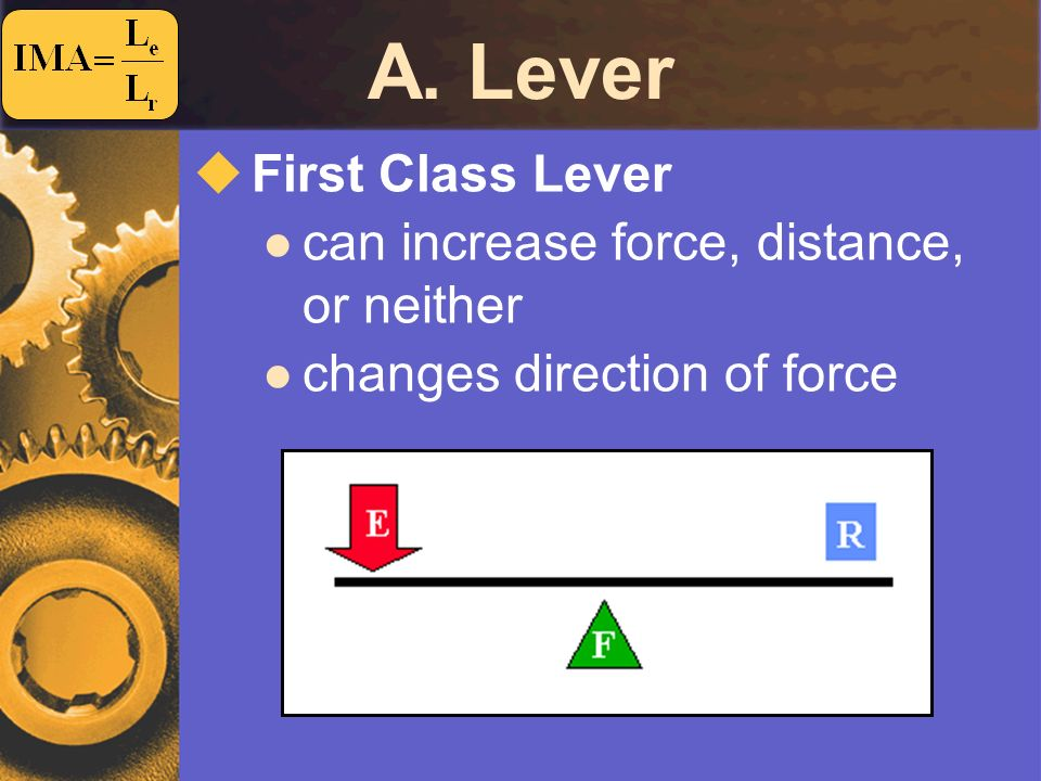 A. Lever First Class Lever can increase force, distance, or neither changes direction of force