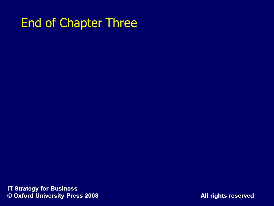 IT Strategy for Business © Oxford University Press 2008 All rights reserved End of Chapter Three