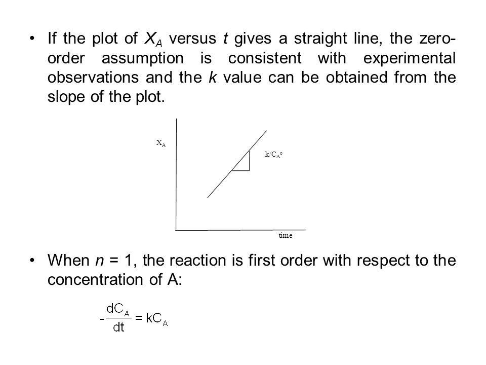 If the plot of X A versus t gives a straight line, the zero- order assumption is consistent with experimental observations and the k value can be obta
