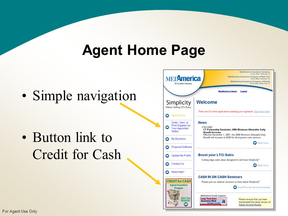 For Agent Use Only Simple navigation Button link to Credit for Cash Agent Home Page