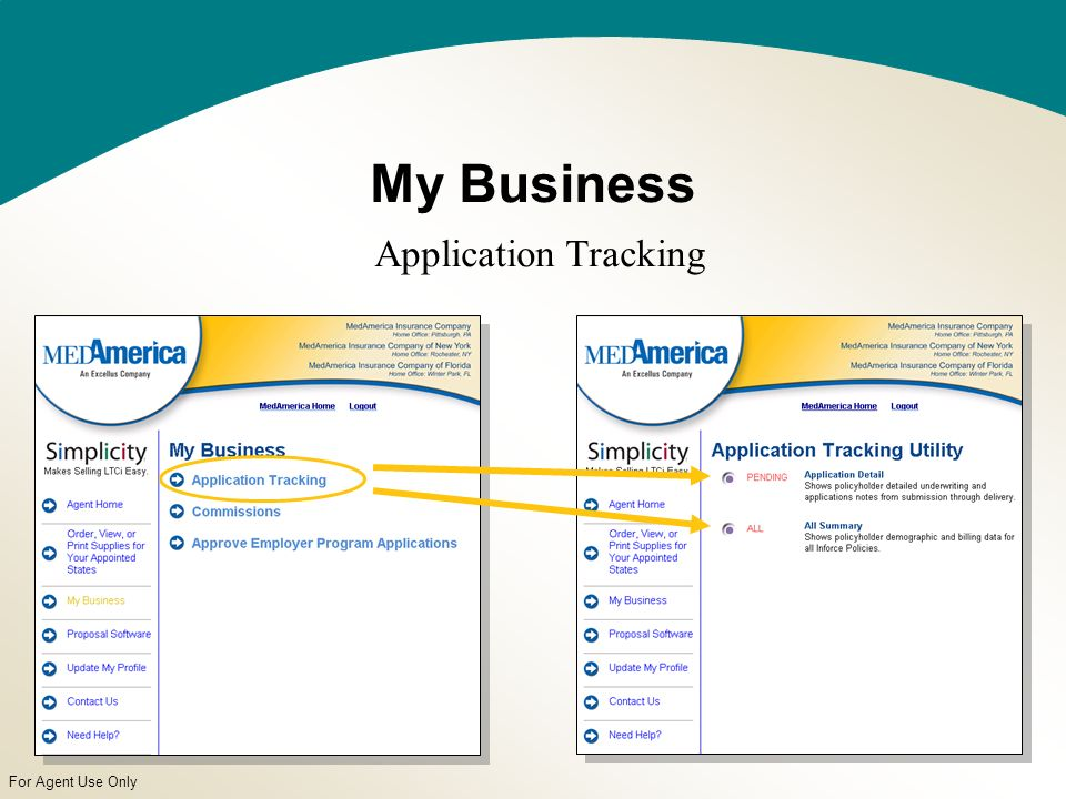 For Agent Use Only My Business Application Tracking