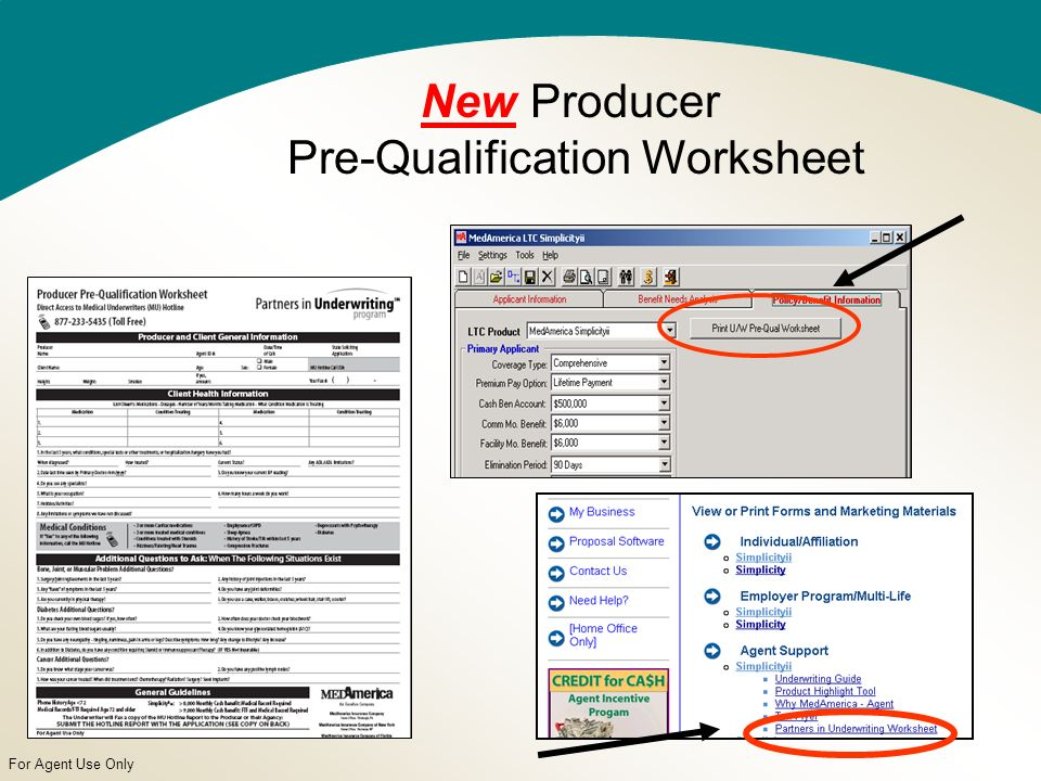 For Agent Use Only New Producer Pre-Qualification Worksheet