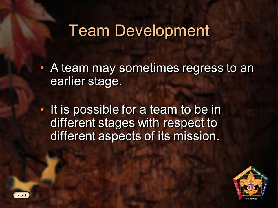 Team Development 2-20 A team may sometimes regress to an earlier stage.