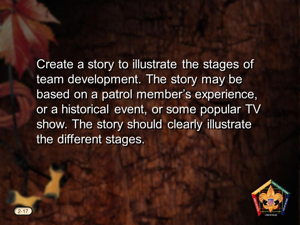 2-17 Create a story to illustrate the stages of team development.