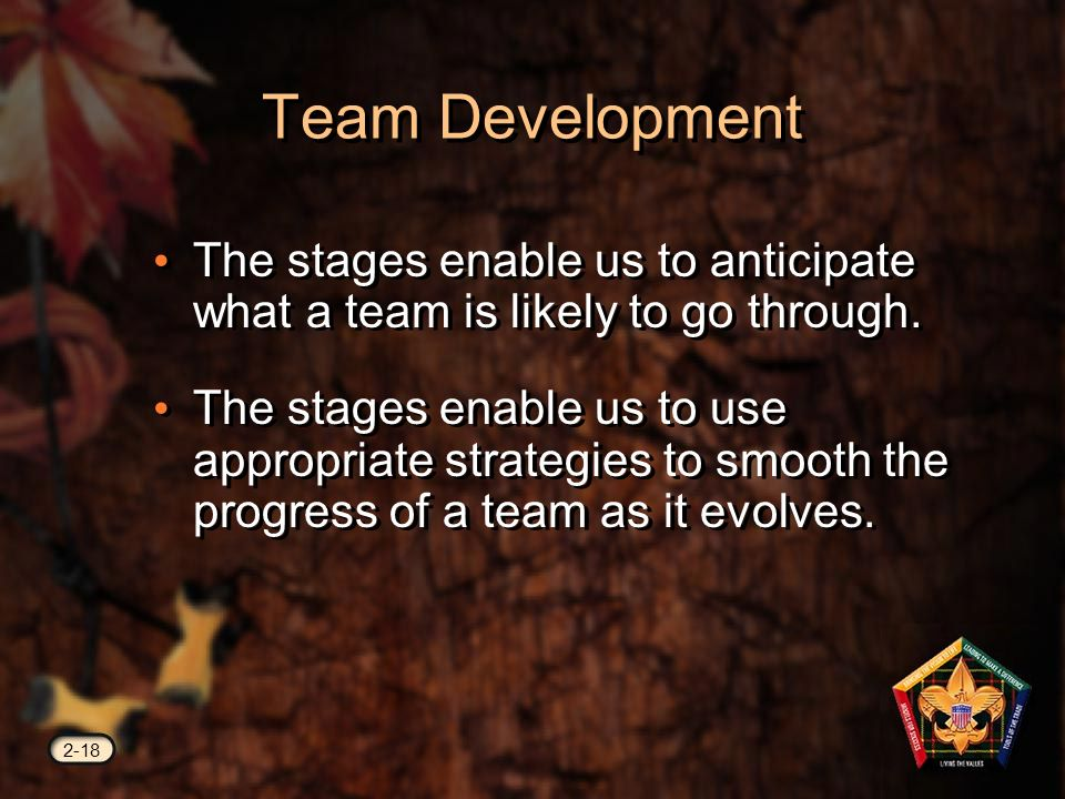 Team Development The stages enable us to anticipate what a team is likely to go through.