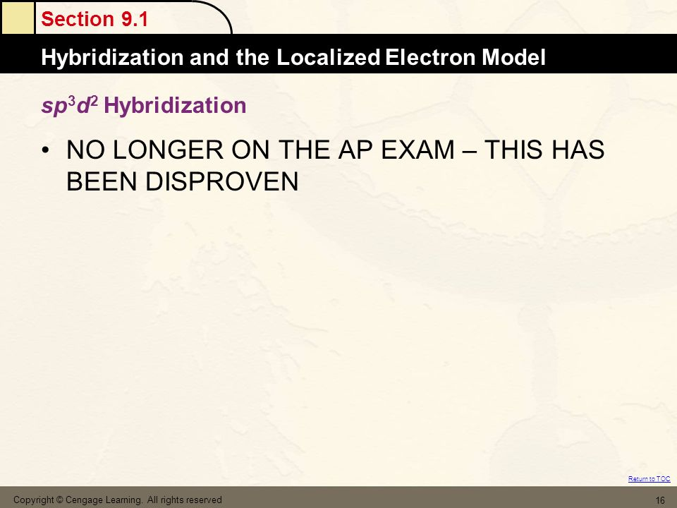 Section 9.1 Hybridization and the Localized Electron Model Return to TOC Copyright © Cengage Learning. All rights reserved 16 sp 3 d 2 Hybridization N